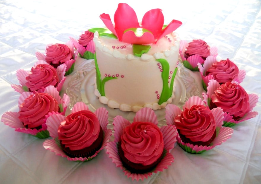 Happy Birthday Flower Images With Cake