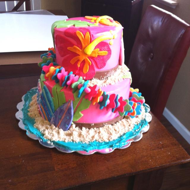 Decorations Photo Hawaiian Luau Birthday Cake 2019