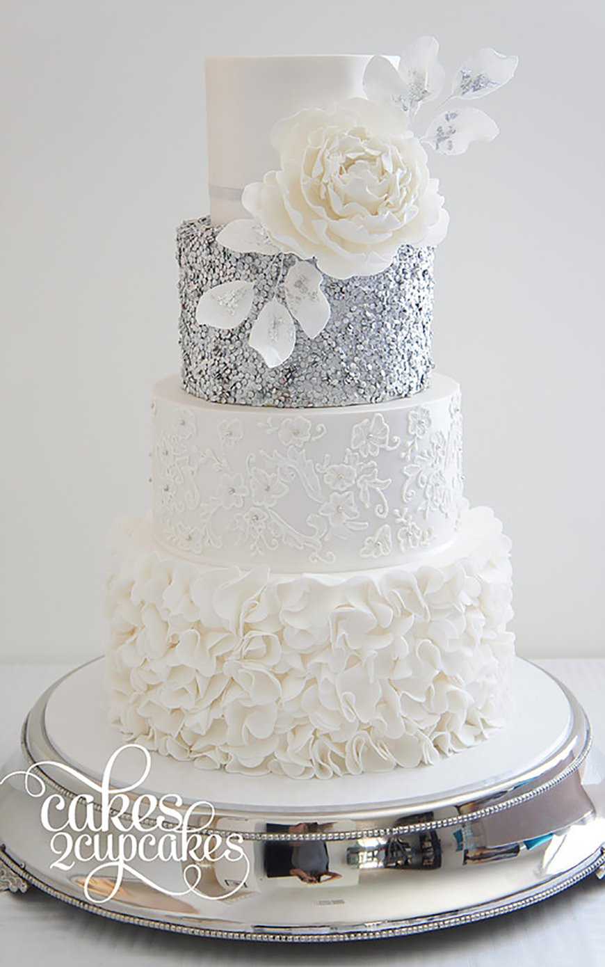 Silver wedding cakes silver wedding cake decorations wedding ideas by colour junglespirit Image collections