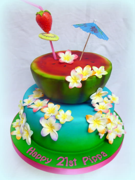 Hawaiian Themed Birthday Cake By Janice Baybutt