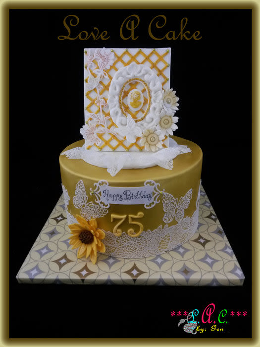 Cameo N Lace Themed 75th Birthday Cake By