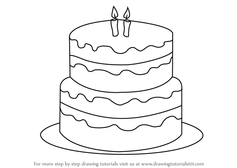 Wondrous How To Draw A Birthday Cake Simple Birthday Cards Printable Trancafe Filternl