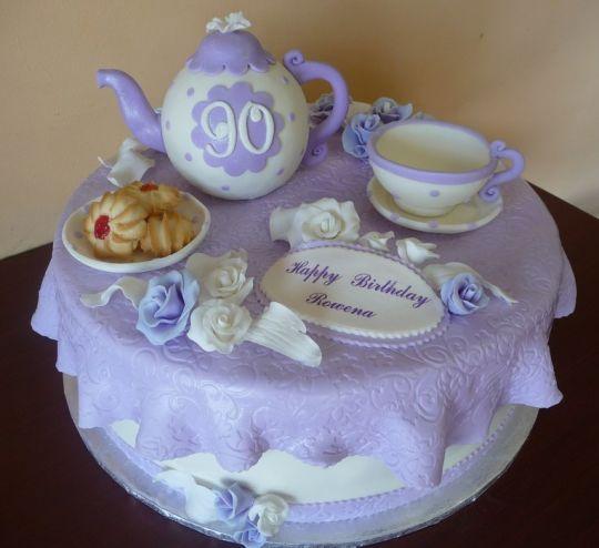 Tea P Y Cake For 90th Birthday By RoscoeBakery