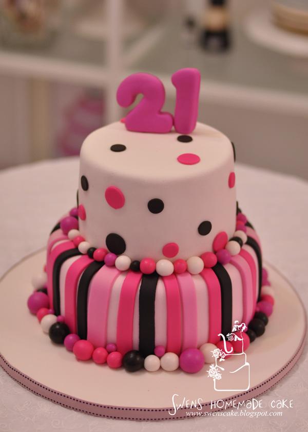 Creative Custom Made 21st Birthday Cake Pink Design