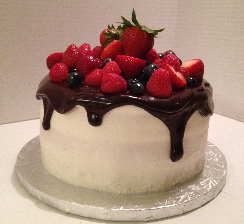 Fresh Fruit Birthday Cake Iced