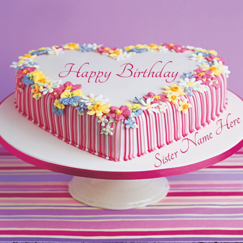 Happy Birthday Flower Cake With Name
