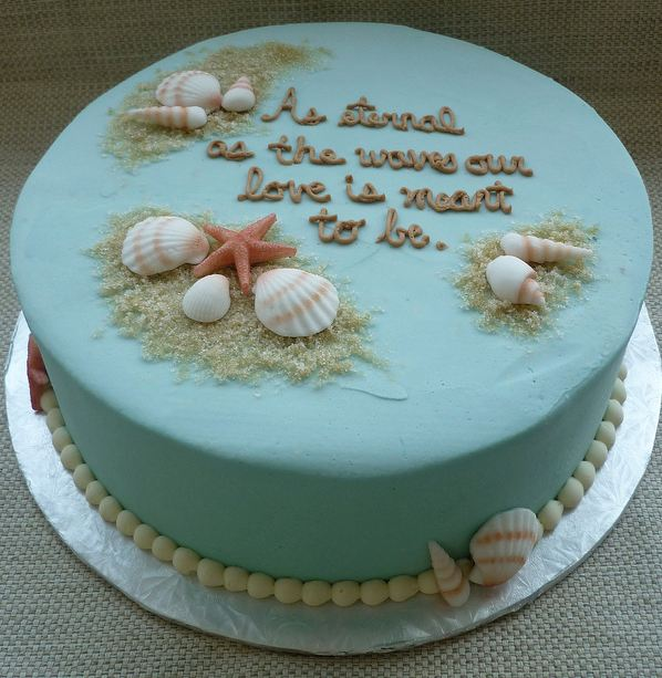 Power Blue Round Ocean Theme Cake With Sea ShellsJPG 1