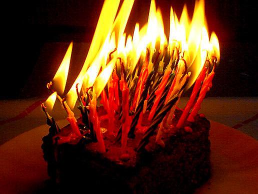 Flaming Birthday Cakes
