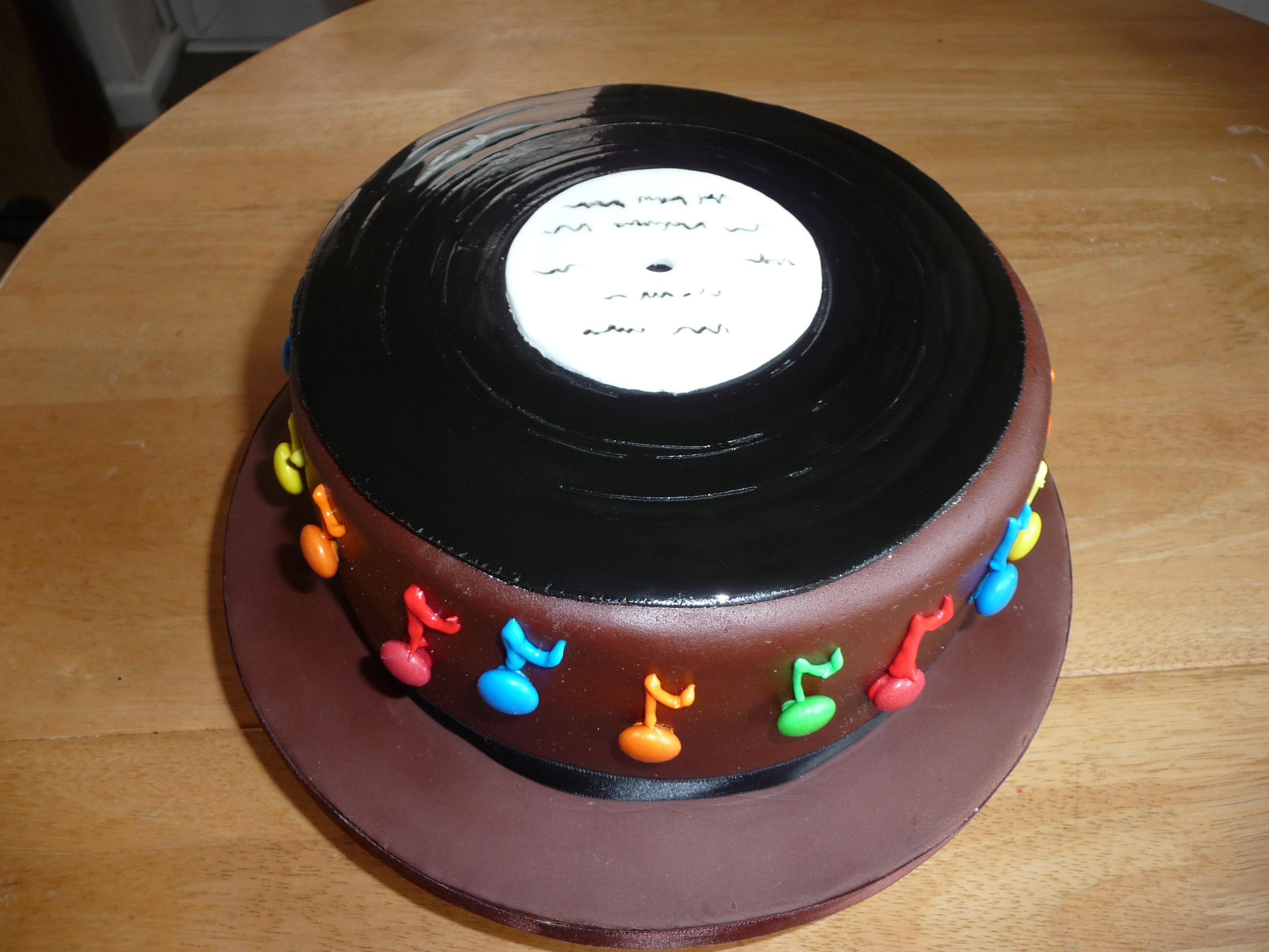 Vinyl Record Cake Decorations
