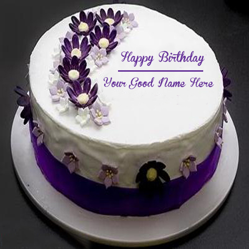 Flower Birthday Cake Name Edit Flowers Healthy Happy Wishes With