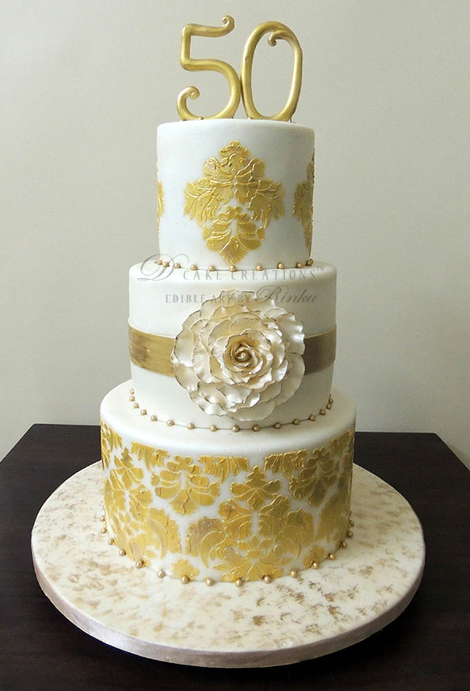Gold Anniversary Cakes