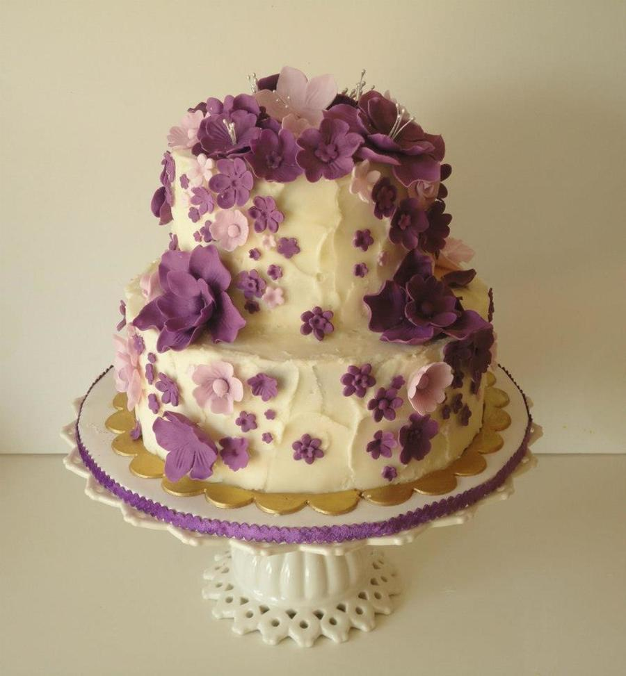 Cascading Purple Flowers Birthday Cake CakeCentral