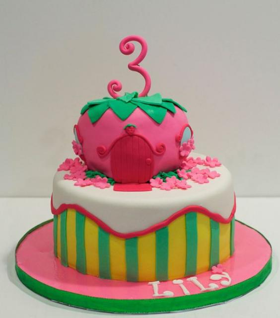 2 Tier Strawberry House Cake For 3 Year Old GirlJPG