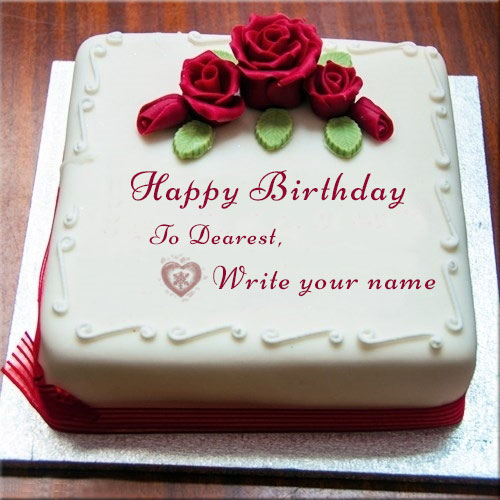 Write Name On Happy Birthday Wishes Cake With Rose