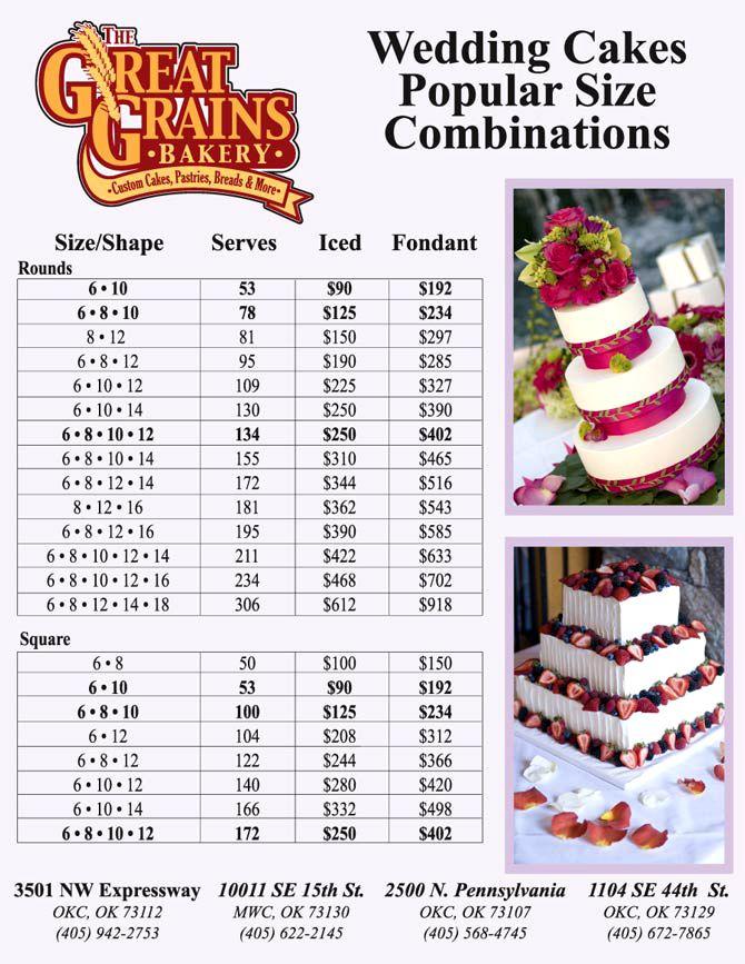 Vauna's cakes. : wedding cake price list.