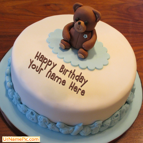 Write Name On Teddy Bear Birthday Cake Happy