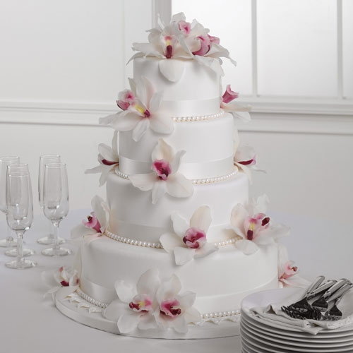 White Fondant Cake With Orchids C Us 206 728 2588