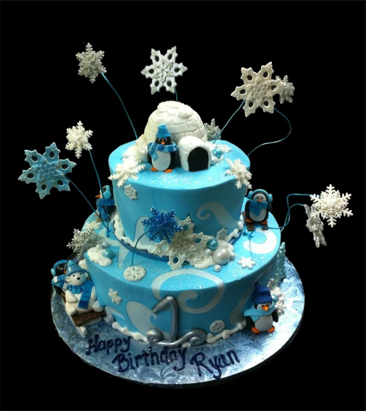 Snow Birthday Cakes