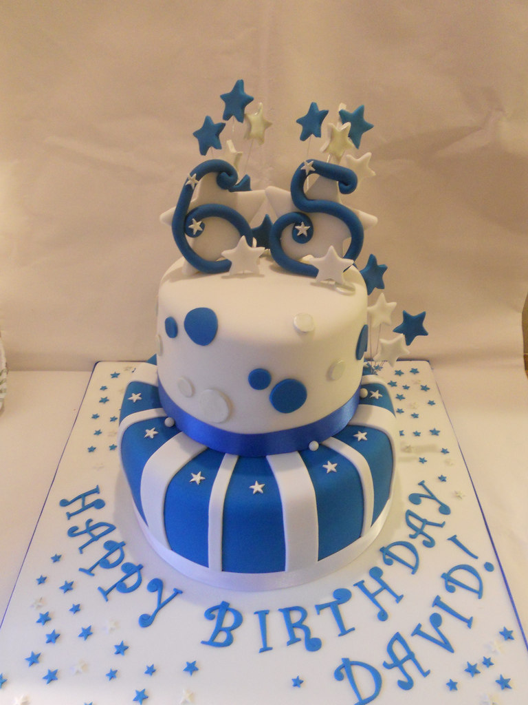 Blue Silver White 65th Birthday Cake Stars Facebook