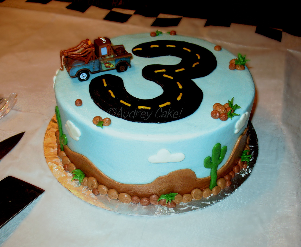 Cars 3rd Birthday Cake With The Addition Of A Store