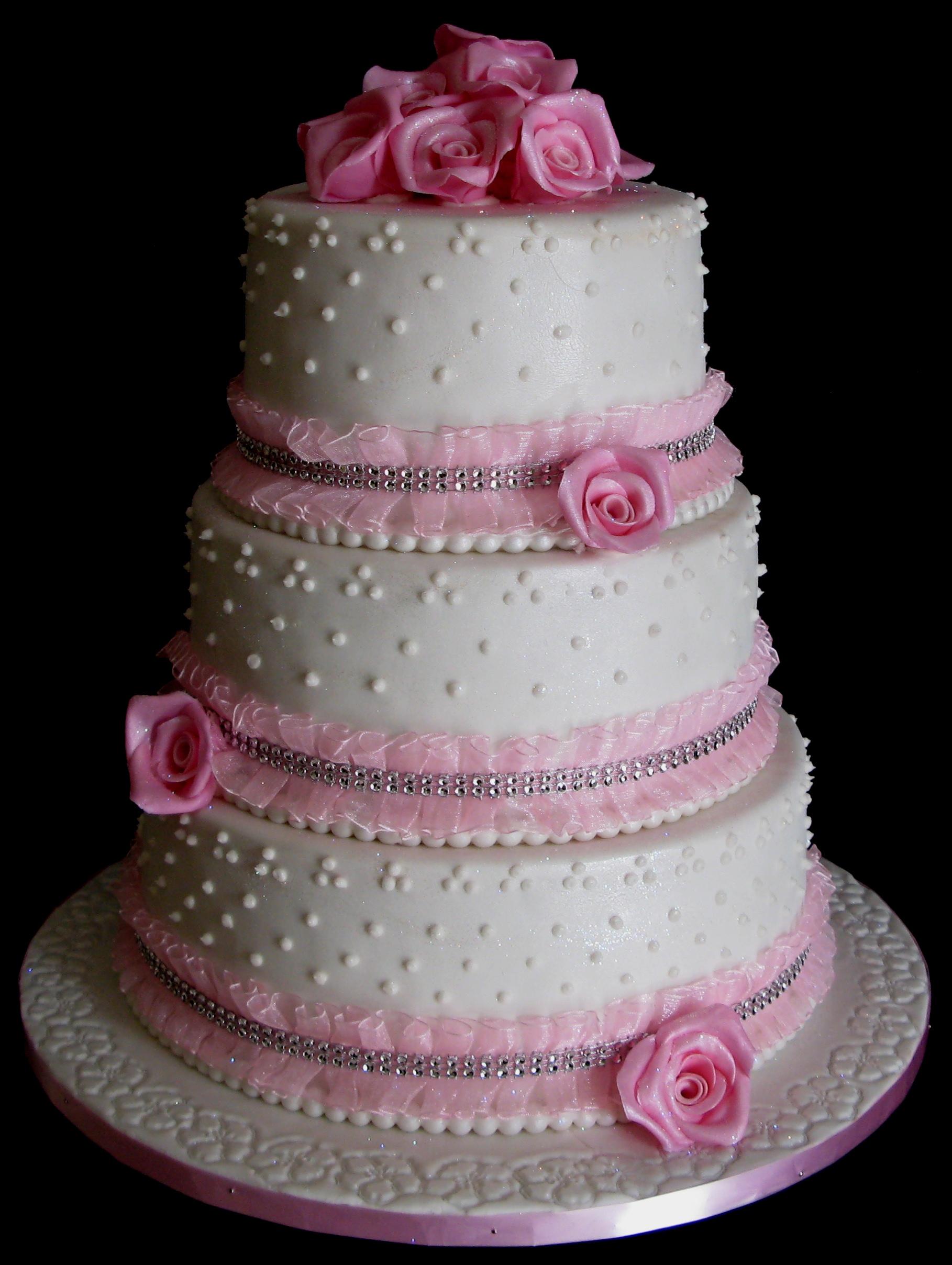 Three Layer Wedding Cake Pink Roses Studio Botswana