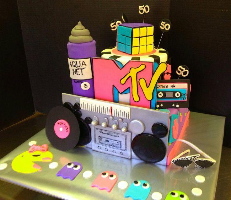 85 90s Themed Birthday Cake
