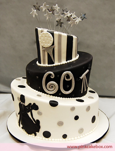 Black And White Topsy Turvy 60th Birthday Cake