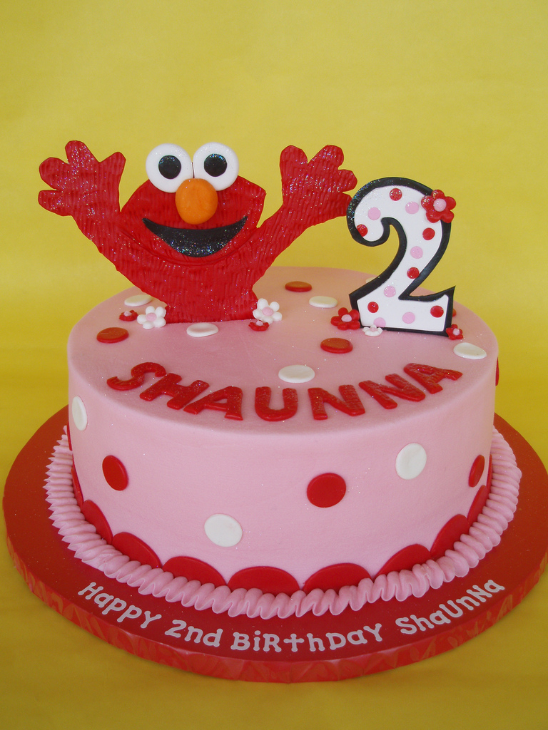 Little Girl Elmo Birthday Cake A Happy Jumps Out Of