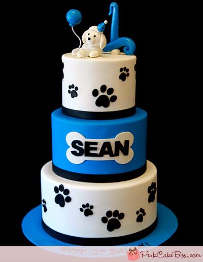 Doggy Themed 1st Birthday Cake Cakes