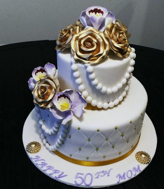 50th Birthday Cake For Woman With Gold Roses Pearl