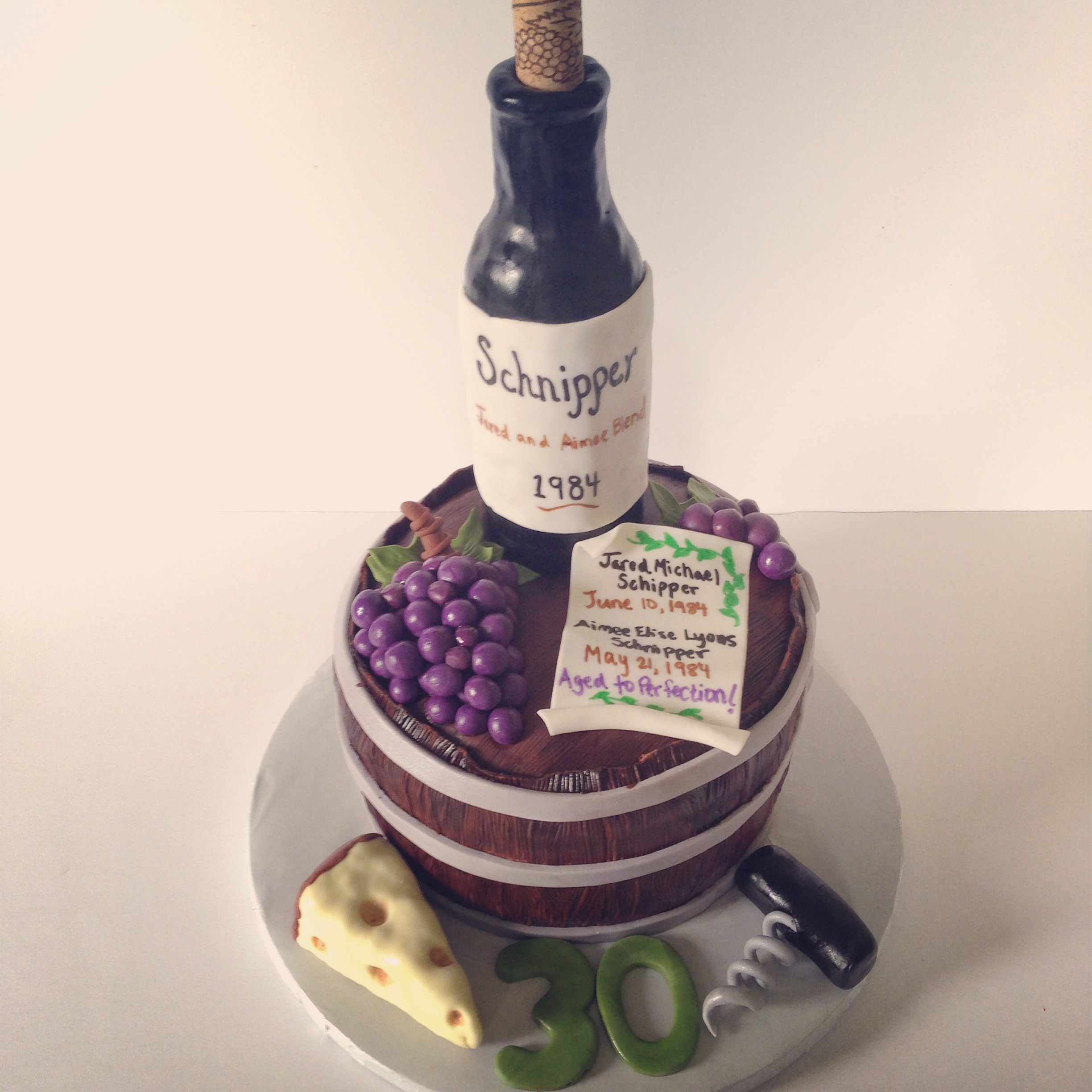 Wine Themed 30th Birthday Cake
