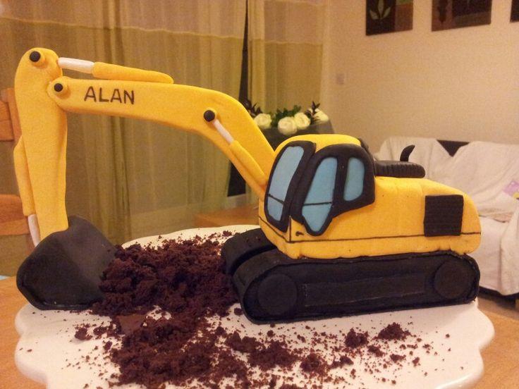 digger cake template - excavator birthday cakes