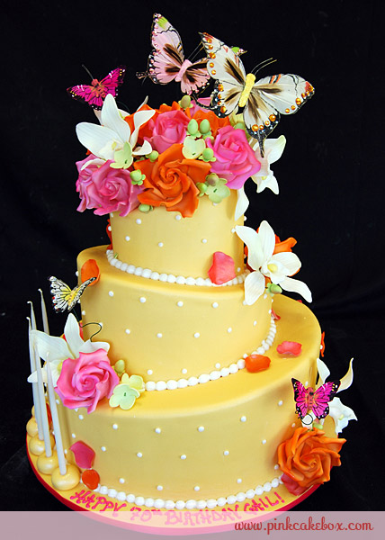Yellow Spring Garden Birthday Cake Cakes