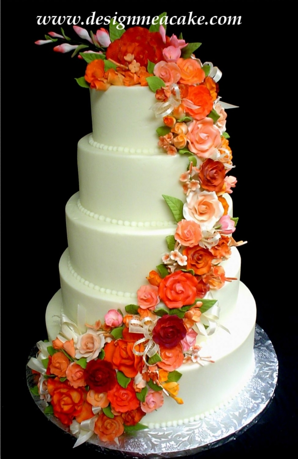 wedding cake with orange flowers orange wedding cakes 26931