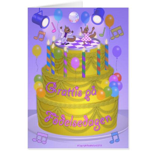 Swedish birthday cakes happy birthday cake swedish greeting card zazzle bookmarktalkfo Choice Image